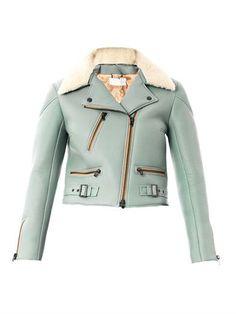 Leather and shearling biker jacket   Chloé   MATCHESFASHION.COM