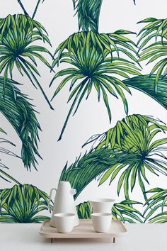 Tropical Pattern Wallpaper Exotic Removable by WallfloraShop