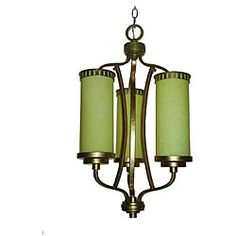 Maestro 3-light Hand-painted Silver and Gold Leaf Chandelier  @Overstock - Illuminate your home with this unique hand-painted leaf chandelier. The gold finish features intricate hints of green that bring out the beauty of this piece. The cream glass shades complete the look of this elegant indoor chandelier.http://www.overstock.com/Home-Garden/Maestro-3-light-Hand-painted-Silver-and-Gold-Leaf-Chandelier/6031114/product.html?CID=214117 $188.99