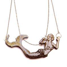 Rosita Bonita mermaid necklace in coral pink. <3