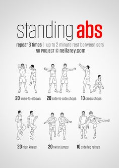 Top Standing Ab Exercises and Workouts to Burn Belly Fat http://abmachinesguide.com/standing-ab-workout-routines/ #abs #workout
