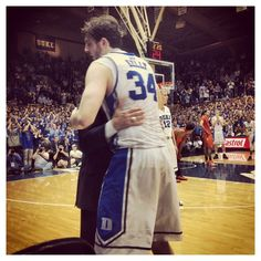 Ryan Kelly gets a hug from Coach K ....senior night at Cameron. Will miss seeing Ryan on the court!! Duke Basketball