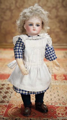 As in a Looking Glass: 2 Wonderful Petite French Bisque Bebe by Schmitt et Fils,Size 4/0