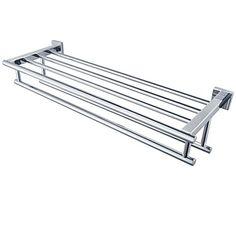 Minimalist Mirror Polishing Stainless Steel Shelf with Towel Rack Towel Rack with Two Towel Bars, A2112 – AUD $ 88.65