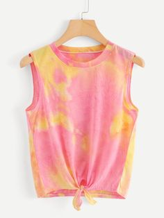 Shop Knot Hem Water Color Top at ROMWE, discover more fashion styles online. Cute Girl Outfits, Casual Outfits, Cute Tie Dye Shirts, Neon Prom Dresses, Teen Fashion, Fashion Outfits, Crop Top Shirts, Stylish Tops, Types Of Fashion Styles