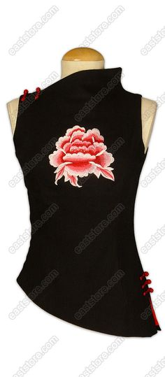 Stylish Peony Embroidered Linen Blouse
