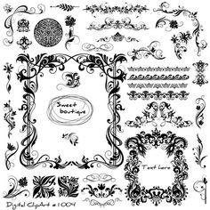 Wedding Digital Frames, Borders Clip Art, Digital Clip Art, Frame Clipart,Victorian digital frames, Wedding Clipart, wedding borders 1004