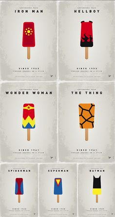 Comic book superheros in the form of a popsicle. Great concept by Dutch artist Vincent Vermeij (Chungkong).