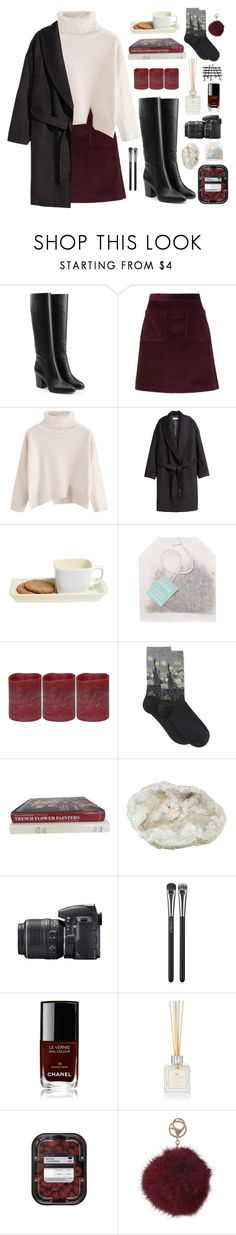 """""""Untitled #23"""" by earthwisebags ❤ liked on Polyvore featuring Sergio Rossi, A.P.C., H&M, Paper Source, Energizer, HOT SOX, Nikon, MAC Cosmetics, Chanel and Cochine Saigon"""