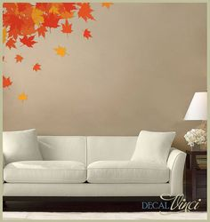 Autumn Leaves Fabric Wall Decal by DecalVinci on Etsy, $55.00