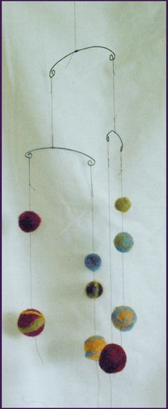 mobiles with our yarn balls