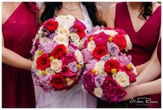Red, ivory, light purple roses with yellow, purple, pink flowers || Wedding Flowers