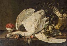 Adriaen Van Utrecht (1589-1662), Nature morte au cygne sur un entablement, 1640, huile sur toile, 103 x 145 cm. Adjugé : 252 800 € Saint-Pandelon, château des Evêques de Dax , samedi 23 et dimanche 24 juillet. Coutau-Bégarie OVV. Mmes Badillet, Chaton, Cotinaud. MM. Béalu, Chaussat, Froissart, Greiner, Machault, Millet, Petitcol, Ravon, Renard, Royer, Rullier, Souchon, Ung.