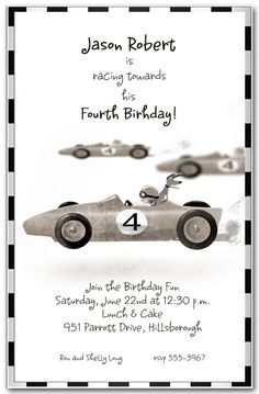 Race Car Birthday Party Invitations from TheInvitationShop.com