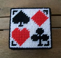Plastic Canvas Playing Card Coasters. $10.00, via Etsy.