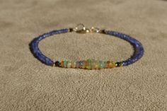 Opal Bracelet, Fiery Ethiopian Opal Bracelet, Iolite Bracelet, Iolite Opal Bracelet, Gemstone Bracelet, Ethiopian Opal Bracelet by ThreeMagicGenies on Etsy