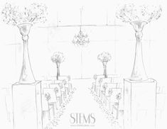 Concept of risers at the back of the aisle… we will have silver candelabras at the base by a trio of white and clear vintage bud vases filled with white ranunculus, gray dusty miller, green seeded eucalyptus and white roses atop lucite risers flanking the back of the aisle.