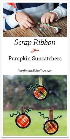 Kids practice weaving with this beautiful Scrap Ribbon Pumpkin Suncatcher Craft. Perfect for fall! | Fireflies and Mud Pies