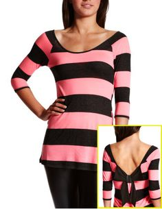 Charlotte Russe - bow back stripe top soooo adorable <3 - http://AmericasMall.com/categories/womens-wear.html