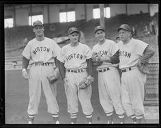 Walt Dropo, Bobby Doerr, Lou Boudreau, and Vern Stephens at Braves Field. 1951 - 1952 (approximate)