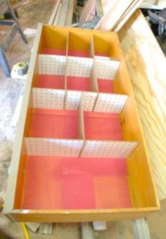 diy drawer dividers out of cardboard or peg board, slotted for stability