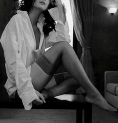 Classic White, Sexy Outfits, Stockings, How To Wear, Shirts, Clothes, Garter, Fashion, Black N White