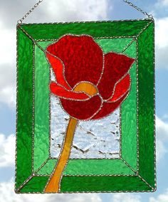 """Bright Red Poppy Stained Glass Floral Suncatcher Design - 8"""" x10""""   -  See more stained glass designs at www.AccentonGlass.com"""