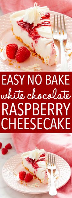 This Easy No Bake White Chocolate Raspberry Cheesecake is the best no bake dessert for white chocolate lovers! Made with simple ingredients and no gelatine! Recipe from thebusybaker.ca! #recipe #cheesecake #whitechocolate #raspberry #nobake #spring #summer #cake #dessert #easy #simple #baker #foodblog via @busybakerblog