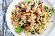 Grilled Shrimp and Summer Veggie Panzanella | by Pink Parsley Blog