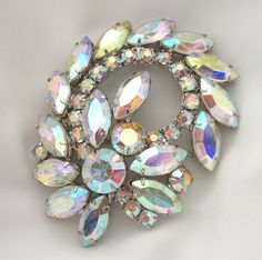 Vintage Weiss Brooch Aurora Borealis by BuyVintageJewelry on Etsy, $50.00