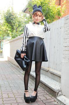stylenanda, leather skirt