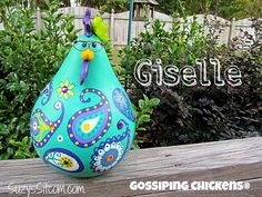 chickens gourd art, paisley, painted gourds, chicken, hen, gourd, teal, dark blue, yellow #handmade #gifts