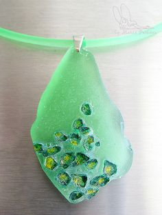 Moss by vokade, via Flickr ... Sea glass, Fimo liquid gel and acrylic paint