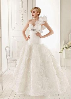 AMAZING ORGANZA MERMAID ONE SHOULDER NECKLINE EMPIRE WAIST RUFFLED WEDDING GOWN WITH BEADINGS