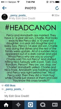 I'm laughing so hard! I never read Percy Jackson, but this is awesome Percy Jackson Head Canon, Percy Jackson Quotes, Percy Jackson Books, Percy Jackson Fandom, Solangelo, Percabeth, Drarry, Magnus Chase, Percy And Annabeth