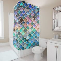 Shop Pink Mermaid Glitter Scales- Mermaid Scales Shower Curtain created by UtART_HOME. Personalize it with photos & text or purchase as is! Mermaid Glitter, Mermaid Diy, Mermaid Scales, Mermaid Bedding, Mermaid Wall Decor, Custom Shower Curtains, Girl Shower, Decoration, Aqua
