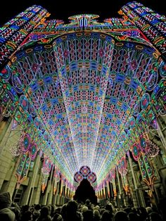 Luminarie De Cagna: a lighting installation used 55,000 LEDs and techniques like projection mapping to create a faux cathedral in Belgium