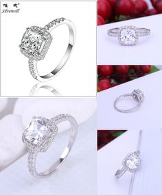 [Visit to Buy] 2017 New 925 Sterling Silver Square Stone Wedding Ring Popular Women Halo Ring Fine Jewelry Anillos with Box #Advertisement