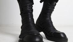 JULIUS Black Overlaced Combat Boots