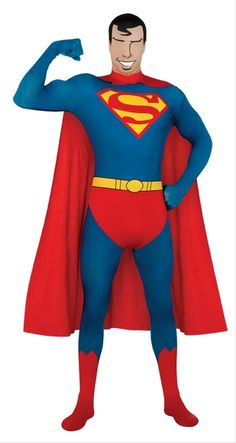 Superman 2nd Skin Costume - This Superman costume has everything to complete the officially licensed DC Comics Superman Look. This costume is a full body Zentai suit made from a stretch polyester and spandex blend. The suit has a sublimated print which has the Superman logo on the chest, belt, red undies and boot tops. The suit also zippers up the back and cover the whole body, this includes fingers to toes. #superheroes #yyc #superman #costume