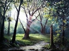 """""""Sunray Forest"""" by Kevin Hill Check out my channel on YouTube: KevinOilPainting Check out my website: www.paintwithkevin.com"""