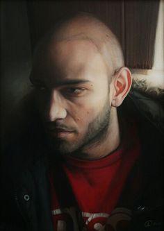 Artista: Ado-Nay ( Manuel Rivero ) Título: My brother. 70x50 cm. Óleo sobre tabla.
