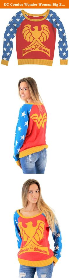 DC Comics Wonder Woman Big Eagle Logo Multi-Color Sweater (Adult Medium). Show your love for Wonder Woman with this sweater.