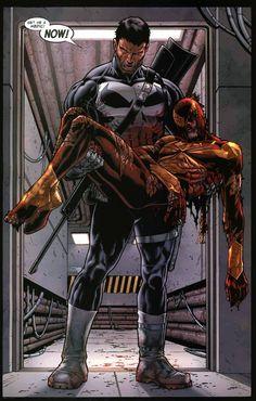 Spiderman saved by Punisher in Civil War