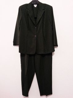 J M Collection - Women's Pants Suit (Pants 20W) Stripe Charcoal (Blazer/Jacket 22W) #JMCollection #PantSuit  ..... Visit all of our online locations ..... (www.stores.eBay.com/variety-on-a-budget) ..... (www.amazon.com/shops/Variety-on-a-Budget) ..... (www.etsy.com/shop/VarietyonaBudget) ..... (www.bonanza.com/booths/VarietyonaBudget ) .....(www.facebook.com/VarietyonaBudgetOnlineShopping)