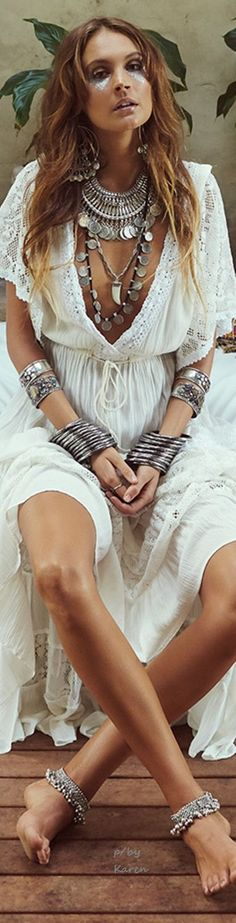 ShimmerTatts metallic tattoos, ethnic tribal inspired chunky coin necklaces, layered stacked bangles, crochet embellished gypsy boho dress for a modern American hippie allure.  www.pinterest.com ...