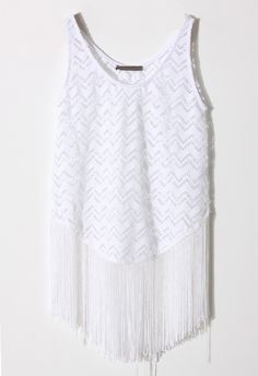 White Cut-Out Fringe Top
