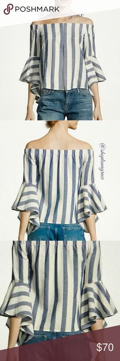🆕 Blue & Ivory Striped Blouse This off the shoulder blouse is so pretty! 100% cotton fabric. Front of blouse has an inverted pleat. Elastic starts at shoulders in both sides and goes all the way around the back neckline. Sleeves are short & have a gradual longer flowing ruffle with the longest part of ruffle on the under arm so it doesn't get in the way. Dry Clean recommend Romeo & Juliet Couture Tops Blouses