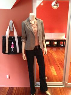 Here we have the incredibly versatile CAbi Sidepocket Blouse paired with our Barrister Blazer. This blazer is quickly becoming a favorite with my customers. It has a matching trouser if you need the suiting option, but it's also really cool with leggings and riding boots for example, or as here with the best jeans in the world (in my humble opinion) CAbi's Farrah Jean. They do wonders for our behinds!