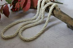 Vintage 32 Faux pearl long woven multi-bead necklace